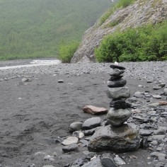 Snorkeled for the perfect stones and left a cairn at Exit Glacier, AK.